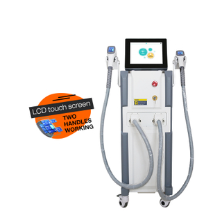 Skin rejuvenation and hair removal 808nm diode laser machine with two handles